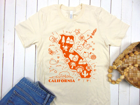 "Art Mina Soft Unisex Tee ""California Map"""