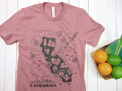 "A photo of Soft Unisex Tee ""California Map"" T-shirt Color: Mauve"