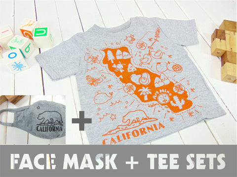 "Kids Tee + Kids Face Mask Sets ""California Map"""