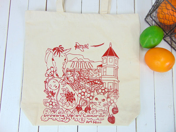 "Canvas Tote Bag Camarillo California ""Growing Up in Camarillo"""