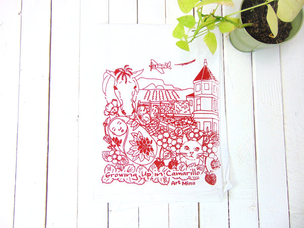 "Art Mina Flour Sack Tea Towel ""Growing Up in Camarillo"""