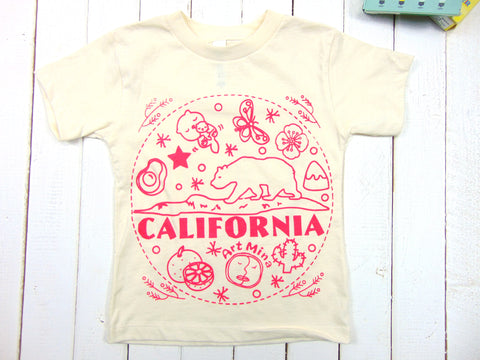 Art Mina California Pink Bear Kids Tee