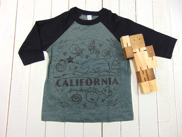 "Toddler & Youth Baseball Tee ""California Cute Bear"""