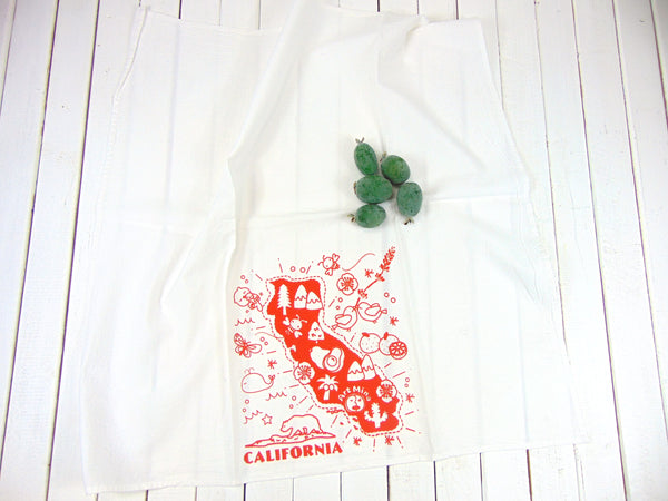 "Flour Sack Kitchen Tea Towel ""California Map"""