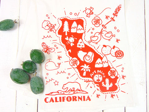 "Art Mina Flour Sack Kitchen Tea Towel ""California Map"""