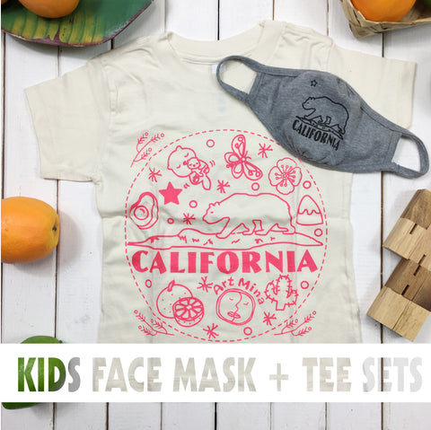 Art Mina [Kids Tee & Face Mask Sets] California Bear