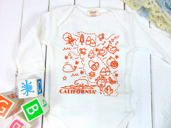 "Organic Baby Onesie ""California Map"" Orange"