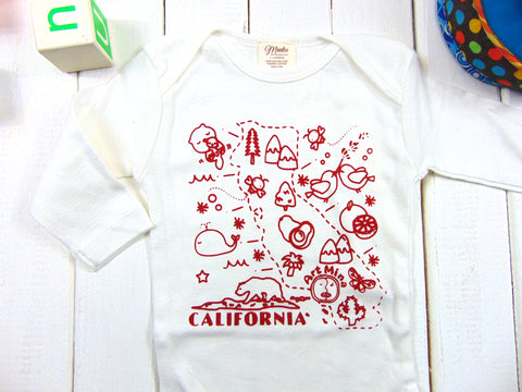 """California Map"" Organic Baby Onesie"