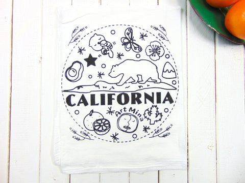 "Art Mina Flour Sack Towel Art Mina Original Illustration ""California Bear"""
