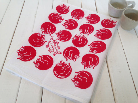 """Dreaming Beach Cat Sally"" Hand Screen Printed  Flour Sack Kitchen Tea Towel"
