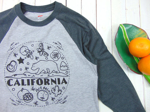 "Picture of Art Mina Baseball 3/4 Sleeve Unisex Tee ""California Bear"""
