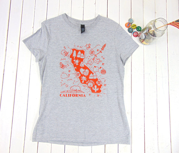 "Soft Women's Tee ""Art Mina California Map"" [Color : Light Steel]"