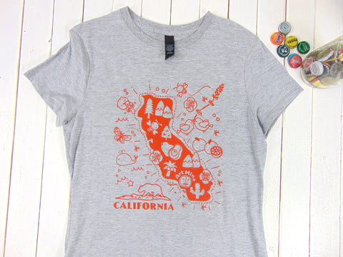 "Kawaii ""Art Mina California Map"" Women's 100 % Cotton Short SleeveT-shirt [Light Steel]"