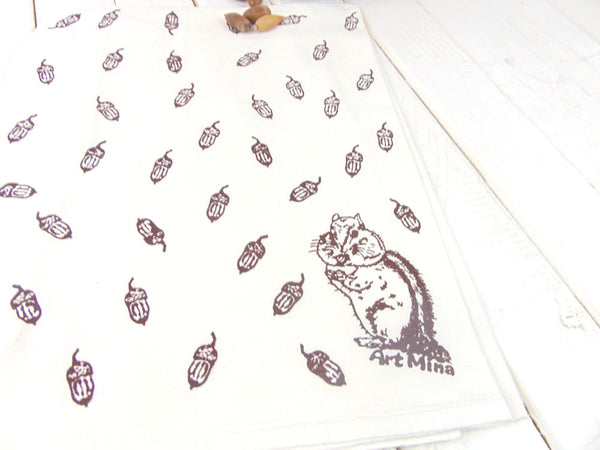 "Flour Sack Kitchen Tea Towel ""Acorn and Chipmunk"""