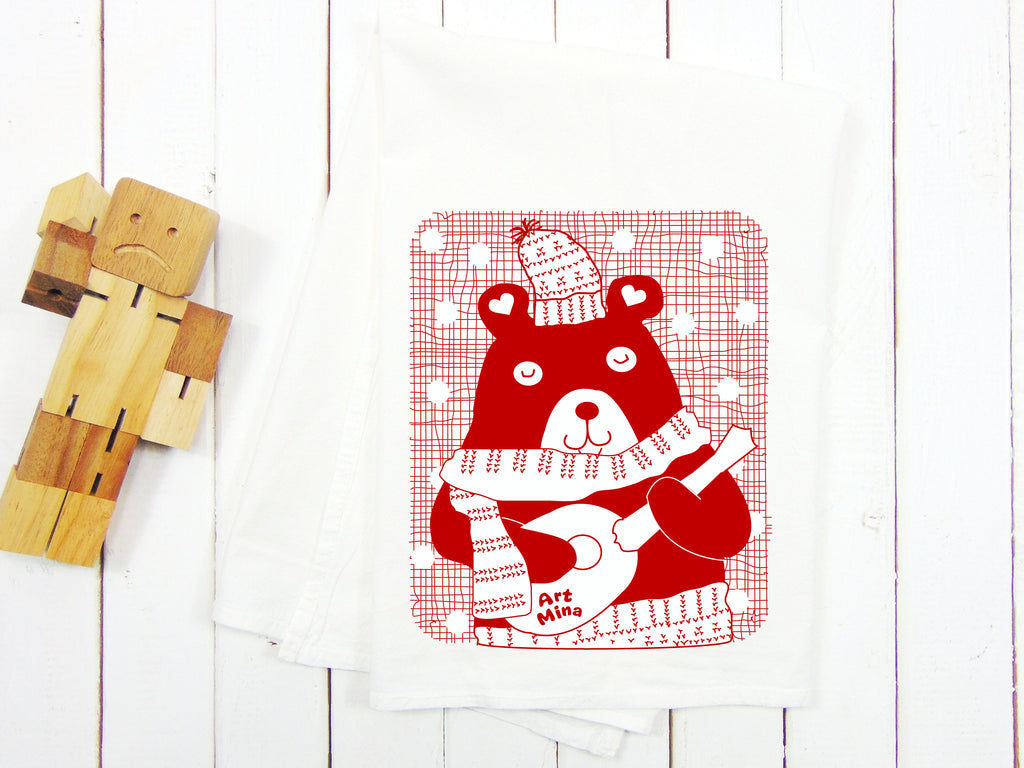 A Photo of Flour Sack Kitchen Tea Towel, Ukulele Bear