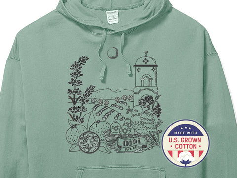 "[American Grown Cotton] Unisex Hoodie ""Ojai California"" Free Shipping"