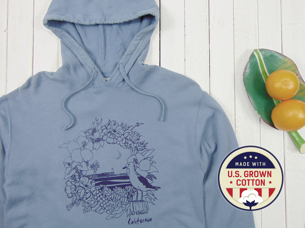 "A photo of Art Mina Blue Unisex Hoodie ""California Pier"""