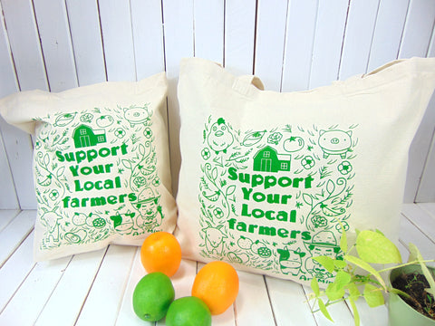 Support Your Local Farmers! Canvas Tote Bags