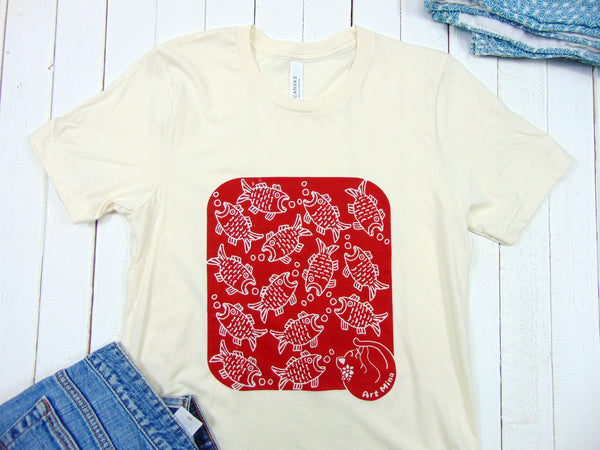 Art Mina red fish and cat tee