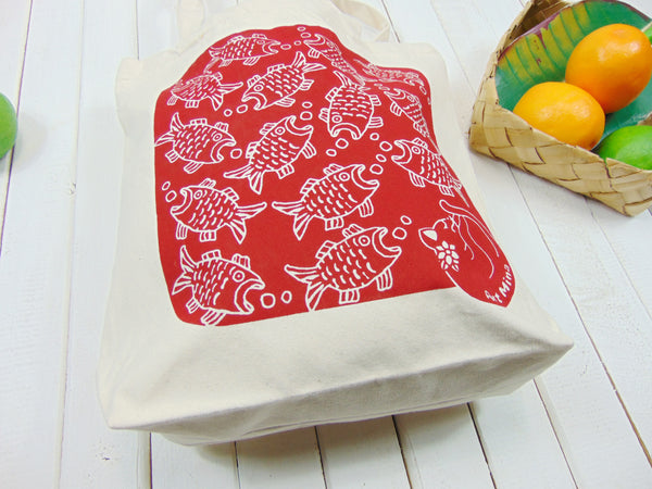 Art Mina Canvas Tote Bag Red Fish and Cat