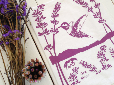 """Ojai Spirit"" Hand Screen Printed  Flour Sack Kitchen Tea Towel"