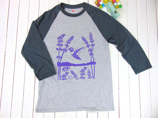 Hummingbird & lavender 3/4 Sleeve T-shirt