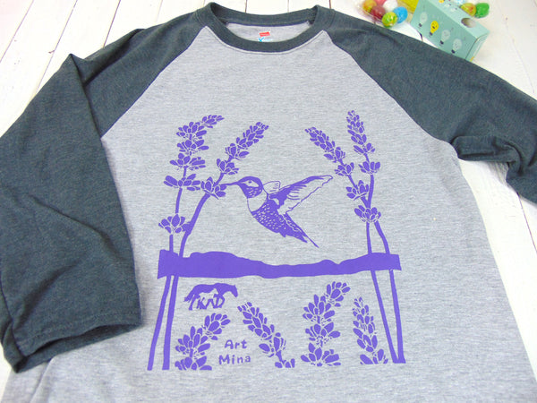 "☆""Hummingbird & lavender "" Baseball T-shirt 3/4 Sleeve ☆"