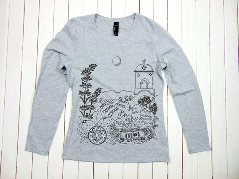 "A photo of Women's Soft Long Sleeve T-shirt Shirt ""Ojai California""Free Shipping"