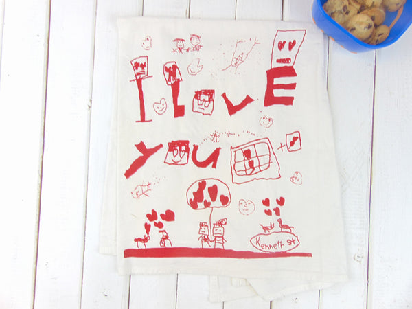 "Flour Sack Kitchen Tea Towel ""I love you"""