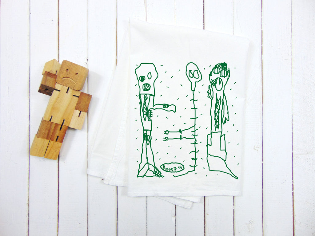 "Flour Sack Kitchen Tea Towel  ""Kids Drawing Monster Halloween"""