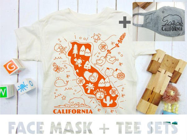"Art Mina[Kids Tee & Face Mask Sets]""Map of California"""