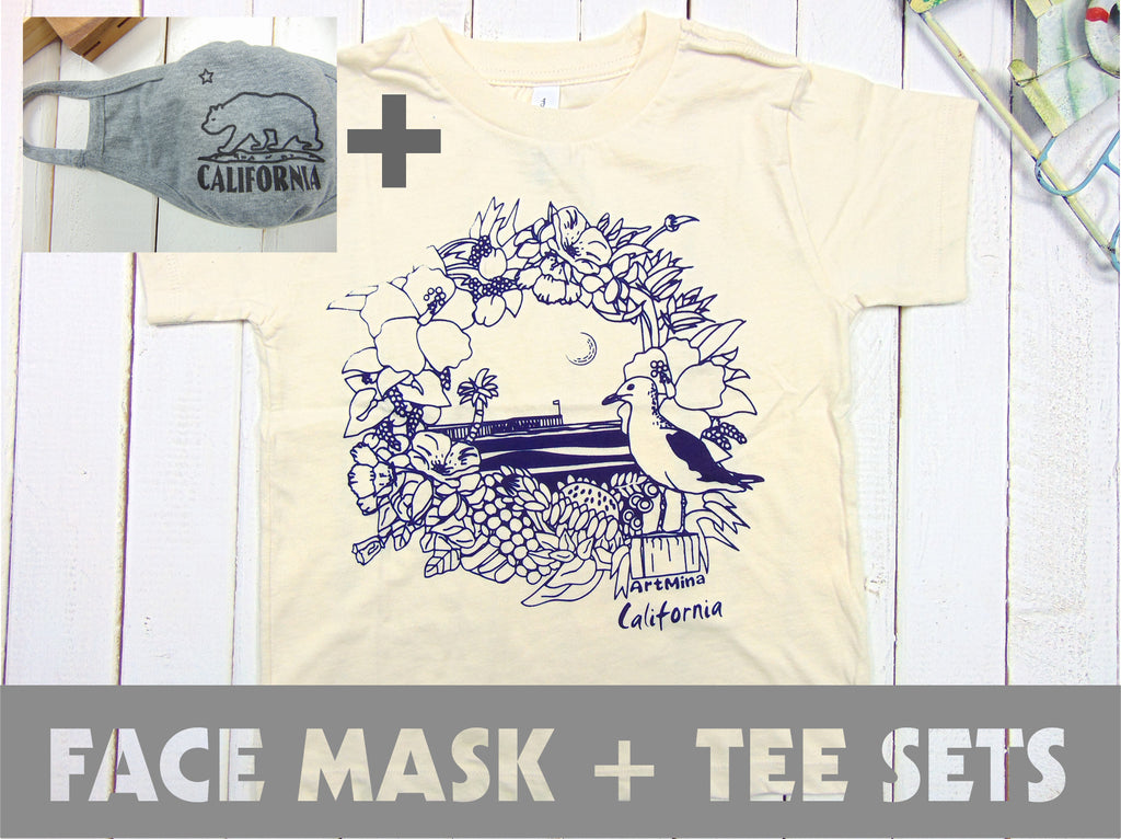 "Art Mina[Kids Tee & Face Mask Sets]""California Pier"""