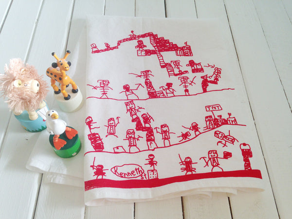 """Ninja in Minecraft 5 ""  Hand Screen Printed  Flour Sack Kitchen Tea Towel"