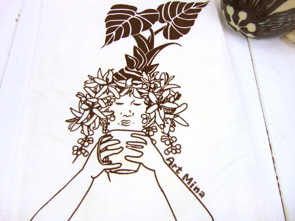 """Morning Kona Coffee"" Flour Sack Kitchen Tea Towel"