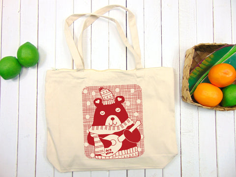 A photo of Art Mina Zepper Tote Bag, Ukulele Bear