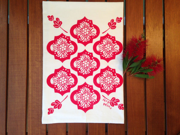 "Flour Sack Kitchen Tea Towel ""Ohia and Lehua"""