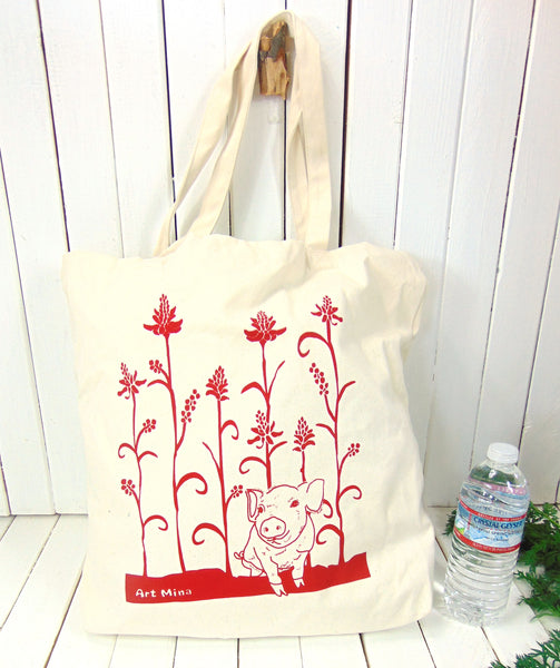 "Canvas Tote Bag  ""Wiliwili Tree and piglet"""