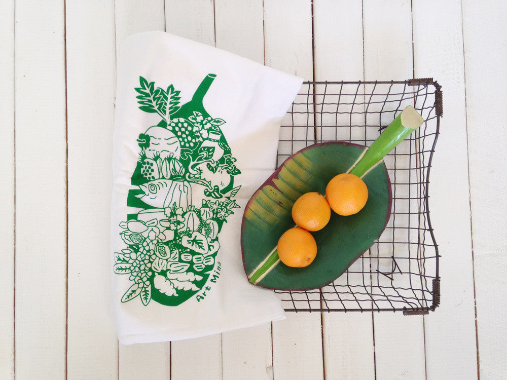 """Luau"" Hand Screen Printed  Flour Sack Kitchen Tea Towel"