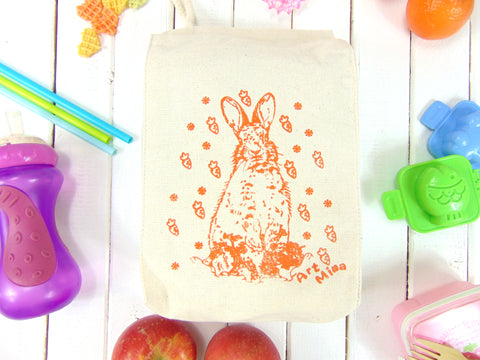 "Canvas Lunch Bag - Carrot Bunny ""All carrots are mine!"""