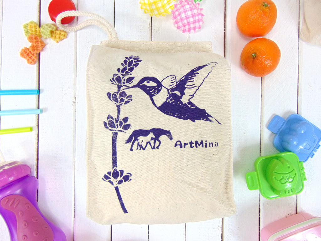"Canvas Lunch Bag - Hummingbird & Lavender ""Ojai Spirit"""