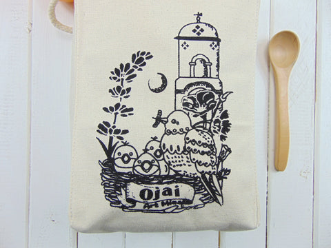 "Art Mina Ojai Canvas Lunch Bag ""Me! Me!"""