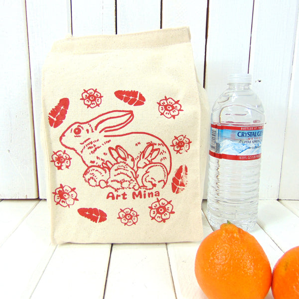 "Canvas Lunch Bag - Rabbits ""Mommy and Baby Bunnies"""