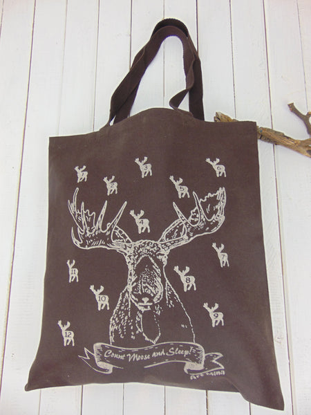 "SALE! Canvas Tote Bag ""Count Moose and Sleep!"""