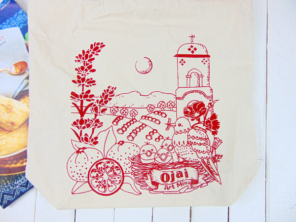 "Canvas Tote Bag Ojai California ""Me! Me!"""