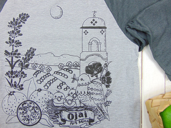 "Art Mina Baseball 3/4 Sleeve Unisex Tee ""Ojai California"""
