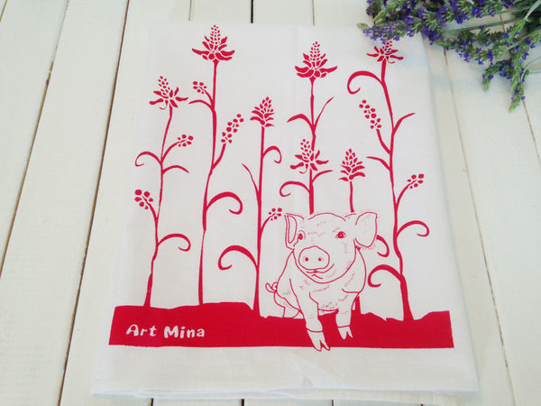 """Wiliwili and piglet"" Hand Screen Printed  Flour Sack Kitchen Tea Towel"