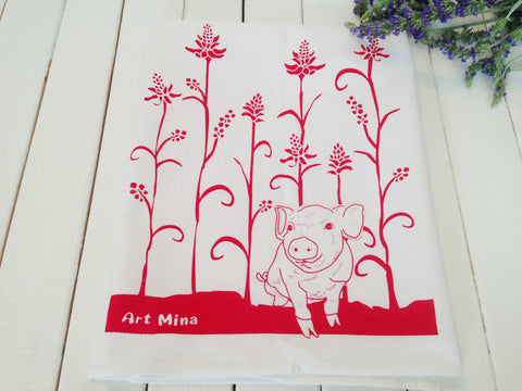 "Flour Sack Kitchen Tea Towel ""Wiliwili and piglet"""