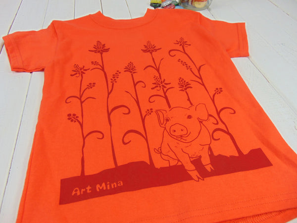 "Kids Tee ""Wiliwili and piglet"" [Free Shipping]"