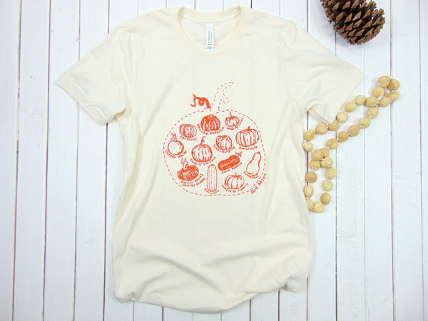 "Soft Unisex Tee ""Pumpkin Sketch"" T-shirt Color: Natural"