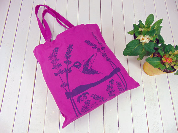 "Canvas Tote Bag Hummingbird & Lavender ""Ojai Spirit"" PURPLE"